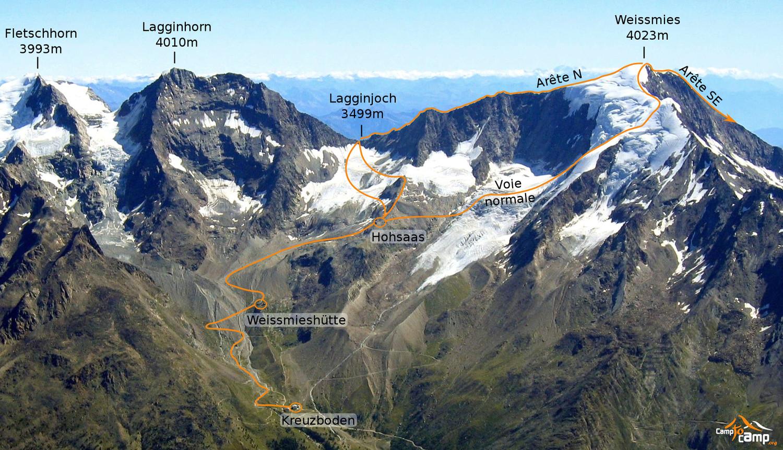 itinéraire arête nord Weissmies