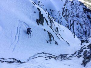 Face nord legette Mirantin Beaufortain pente raide ski ouverture