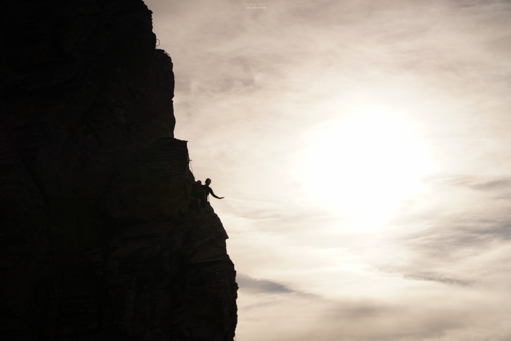 via ferrata rocher du vent coucher de soleil Beaufortain alpinisme escalade