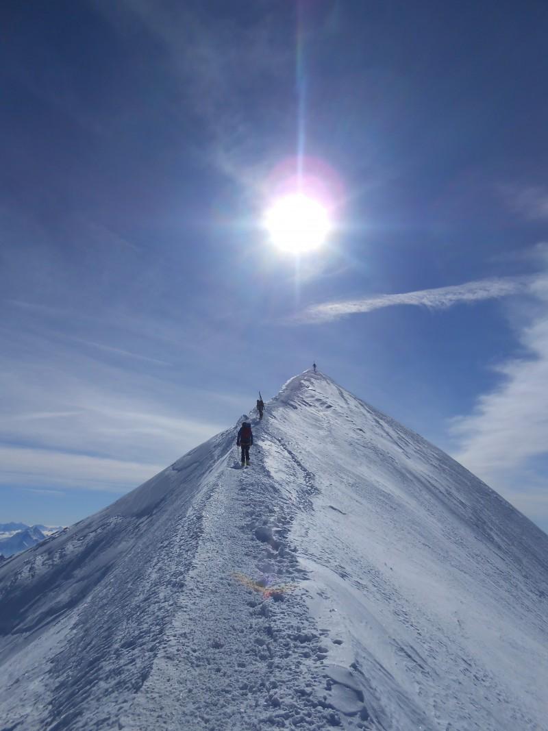 Arête des Bosses avant le sommet
