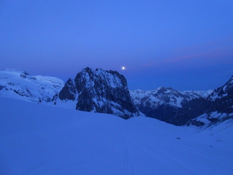 lever de lune sur l'aiguille de la Vanoise